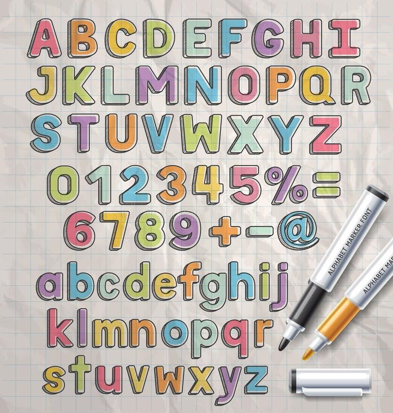 Estilo de fuente colorido del garabato del marcador del alfabeto stock de ilustración