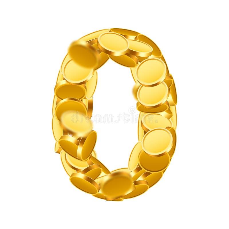 Estilo de fuente de vector hecho de monedas de oro Números de la moneda Número 0 cero ilustración del vector