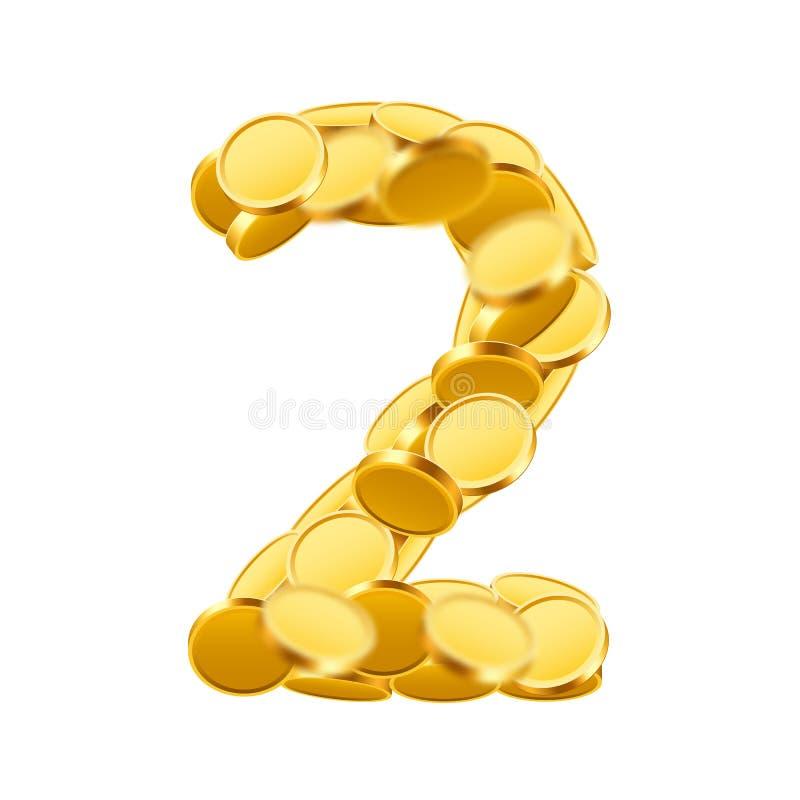 Estilo de fuente de vector hecho de monedas de oro Números de la moneda Número 2 Dos ilustración del vector