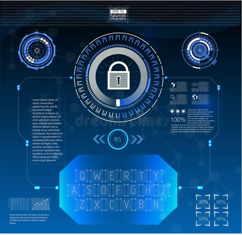 Estilo de HUD na ilustração do vetor da segurança da rede ilustração do vetor