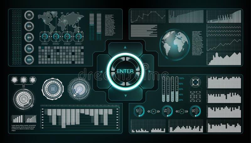 Estilo de Hud Sistemas grandes del hud Extracto de la ciencia del vector Ilustración del vector Interfaz de usuario futurista Cie libre illustration