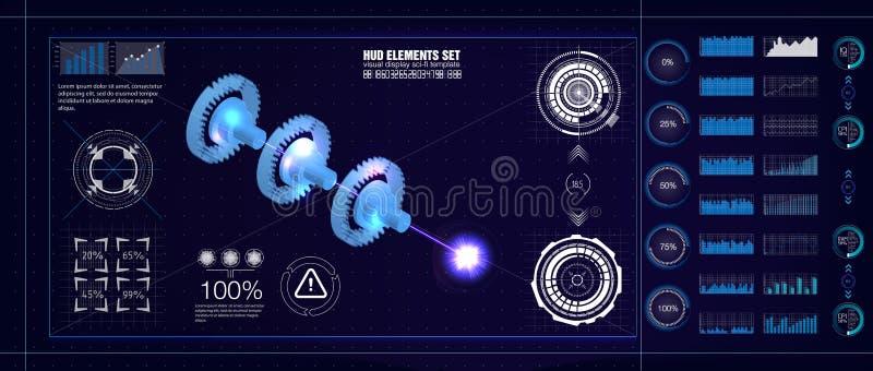 Estilo de HUD UI Modelo industrial do aerospase Vector a ilustração da engenharia futura com estatística do infographics e do mot ilustração royalty free