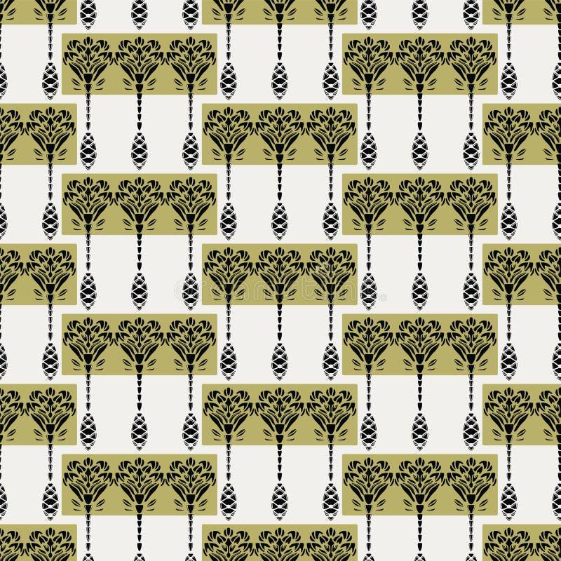 Estilo de Jugendstil del adorno de la flor de Art Nouveau Vector el modelo incons?til Muestra retra de las materias textiles del  ilustración del vector
