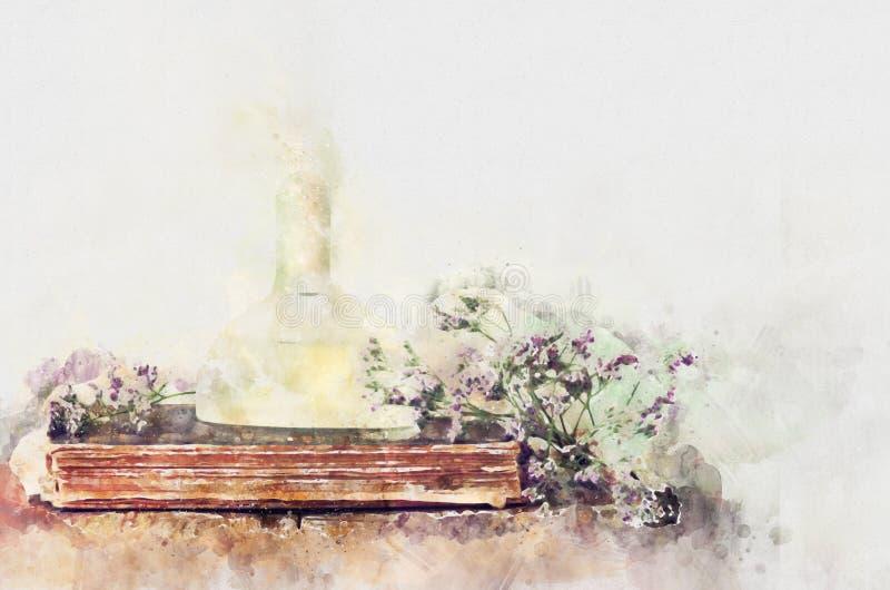 estilo de la acuarela e imagen abstracta de la botella de perfume del vintage stock de ilustración