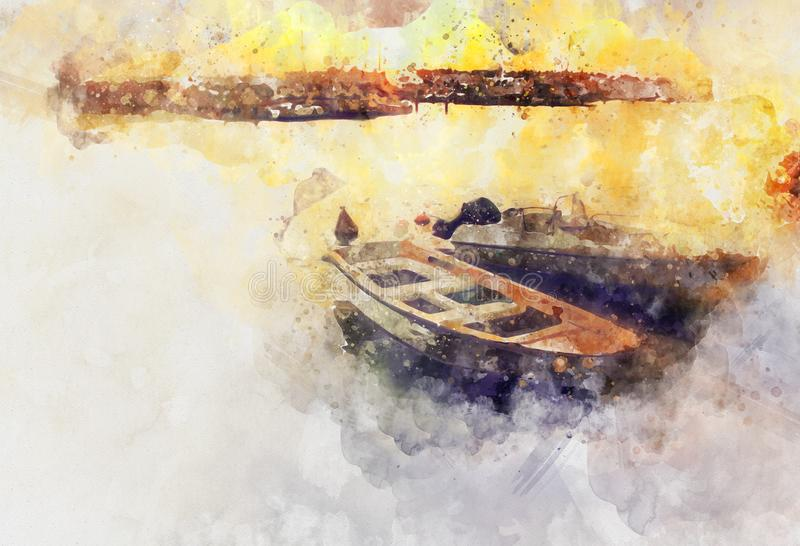 estilo de la acuarela e imagen abstracta del concepto náutico con el barco viejo fotos de archivo libres de regalías