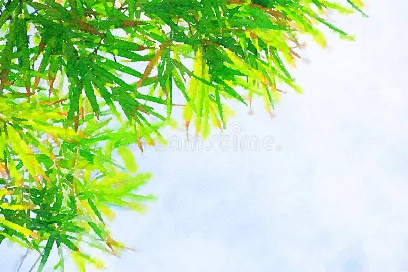 Estilo de la acuarela de la hoja de bambú verde en el cielo azul libre illustration
