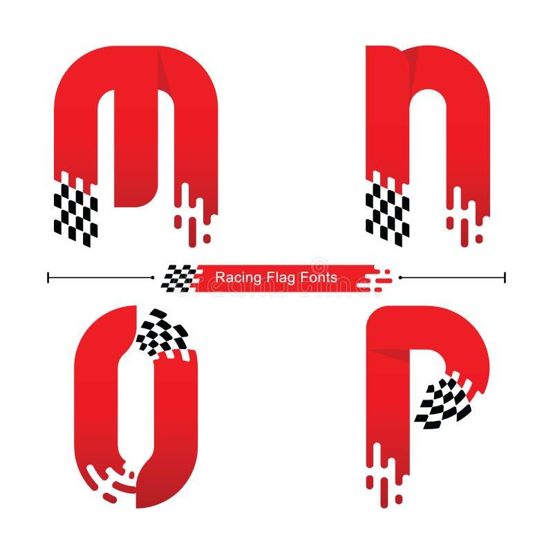 Estilo de la bandera del alfabeto que compite con en un sistema MNOP ilustración del vector