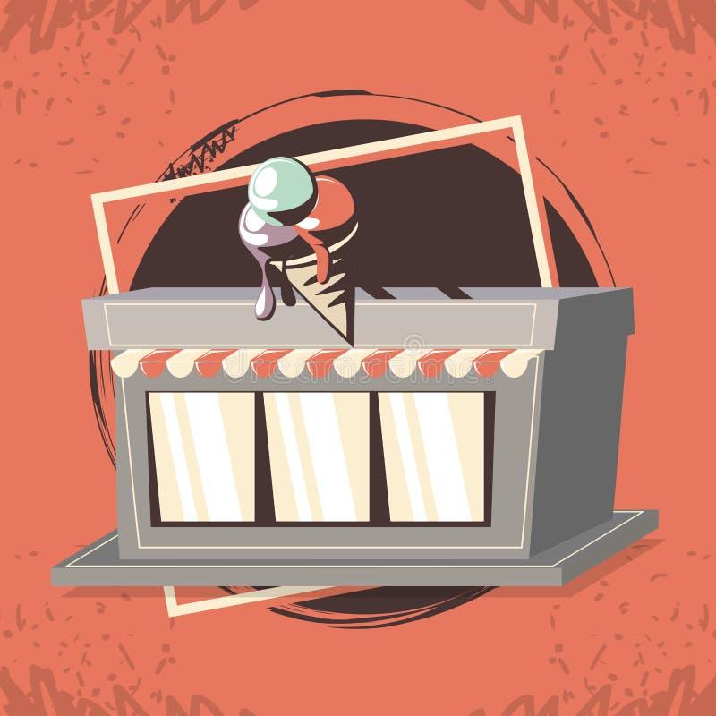 Estilo de la etiqueta del helado retro stock de ilustración