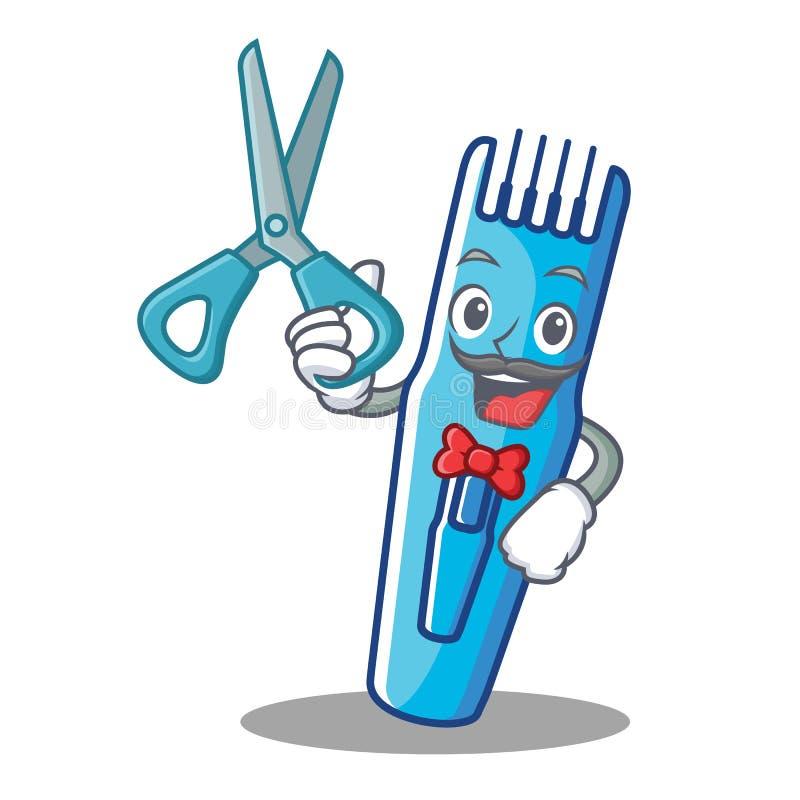 Estilo de la historieta del carácter del condensador de ajuste del peluquero stock de ilustración