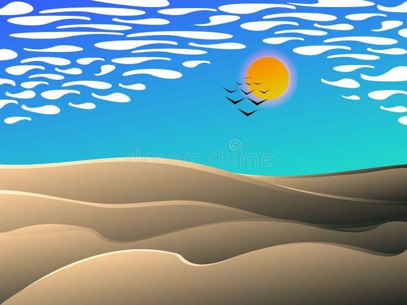 Estilo de la historieta del paisaje del mediodía del desierto ilustración del vector