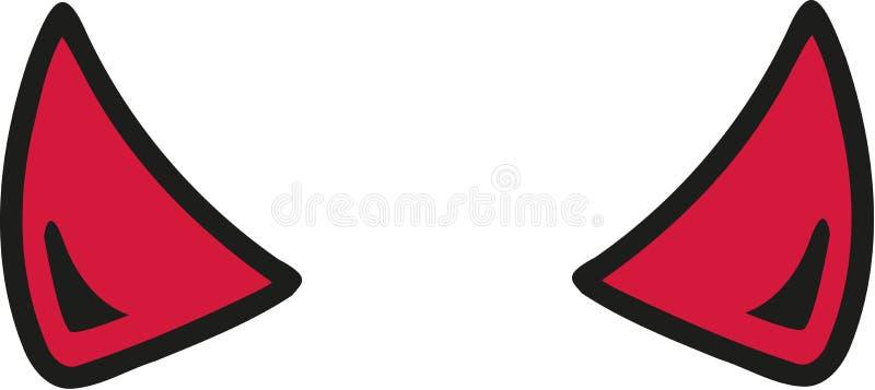 Estilo de la historieta de los cuernos del diablo ilustración del vector