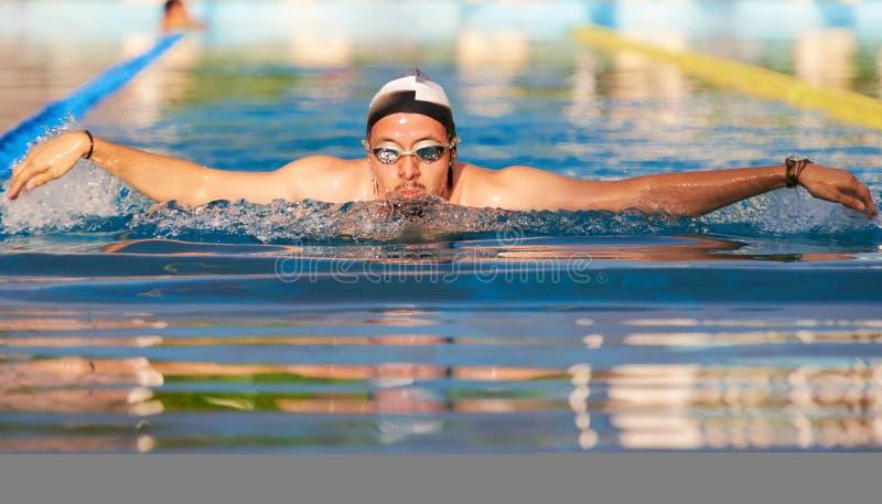 Estilo de la mariposa de la natación del hombre fotografía de archivo