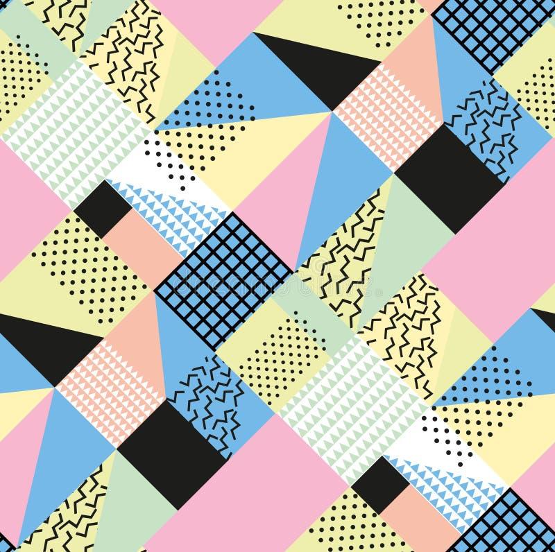 Estilo de la moda retra 80s o 90s del vintage Modelo inconsútil de Memphis Elementos geométricos de moda Diseño abstracto moderno ilustración del vector
