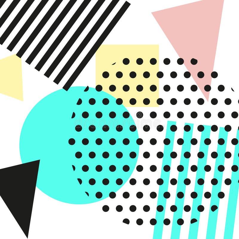 Estilo de la moda retra 80s o 90s del vintage Tarjetas de Memphis Elementos geométricos de moda Cartel abstracto moderno del dise ilustración del vector