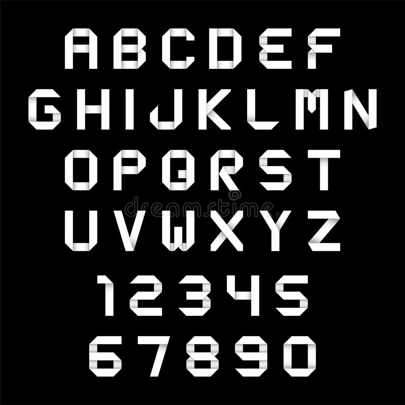 Estilo de la papiroflexia del alfabeto y de los números stock de ilustración