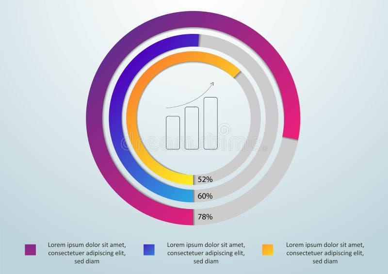 Estilo de la papiroflexia del círculo del infographics del negocio Ilustración del vector Puede ser utilizado para la disposición ilustración del vector
