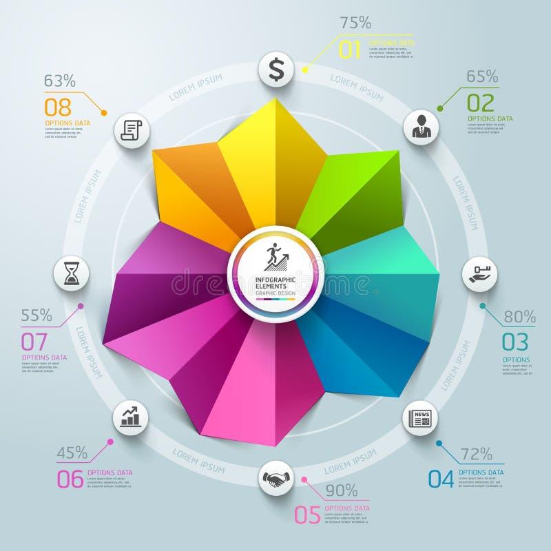 Estilo de la papiroflexia del gráfico de círculo de Infographics del negocio. stock de ilustración