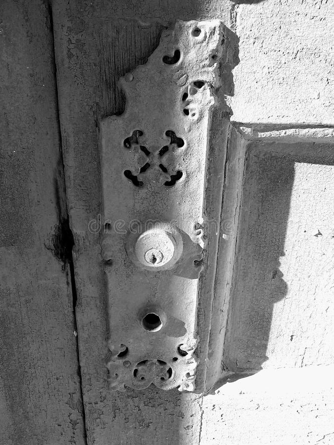Estilo de la placa de la puerta fotos de archivo