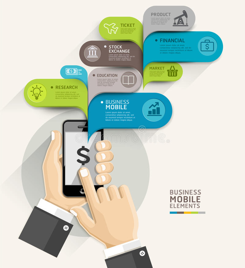 Estilo de la plantilla del discurso de la burbuja del negocio móvil libre illustration
