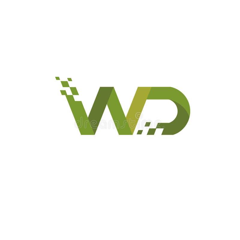 Estilo de la tecnología digital del logotipo de la letra WD ilustración del vector