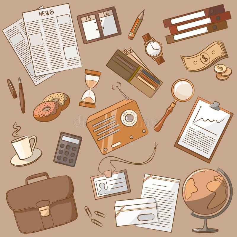 Estilo de la vendimia del doodle del asunto stock de ilustración
