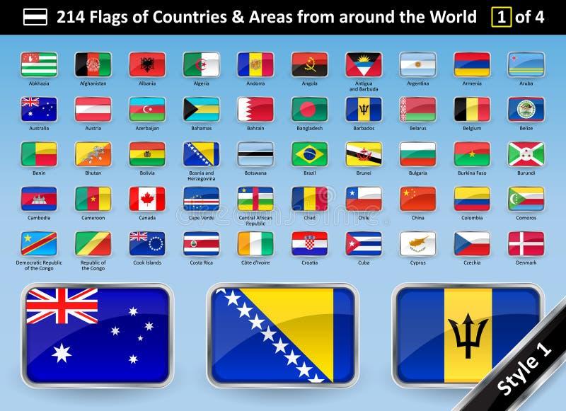ESTILO 1 de las banderas y de las áreas de país de todo el mundo ilustración del vector