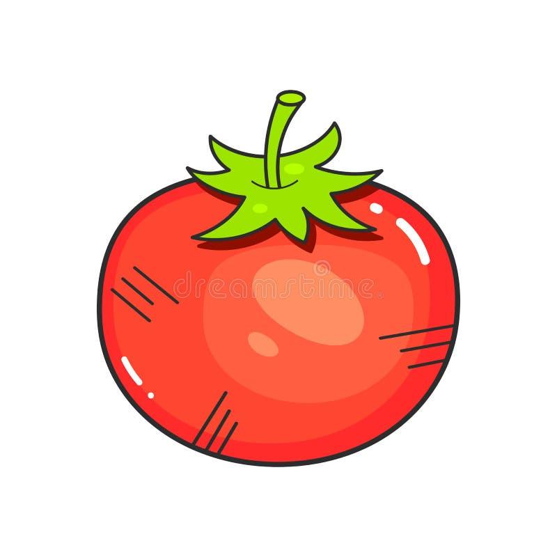 Estilo de Logo Food Trade Company Flat del tomate Icono de la empresa alimentaria Concepto de Juice Drinks stock de ilustración