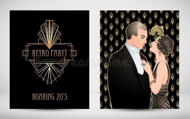 Estilo de los años 20 de la aleta Partido del vintage o invitación temática de la boda libre illustration