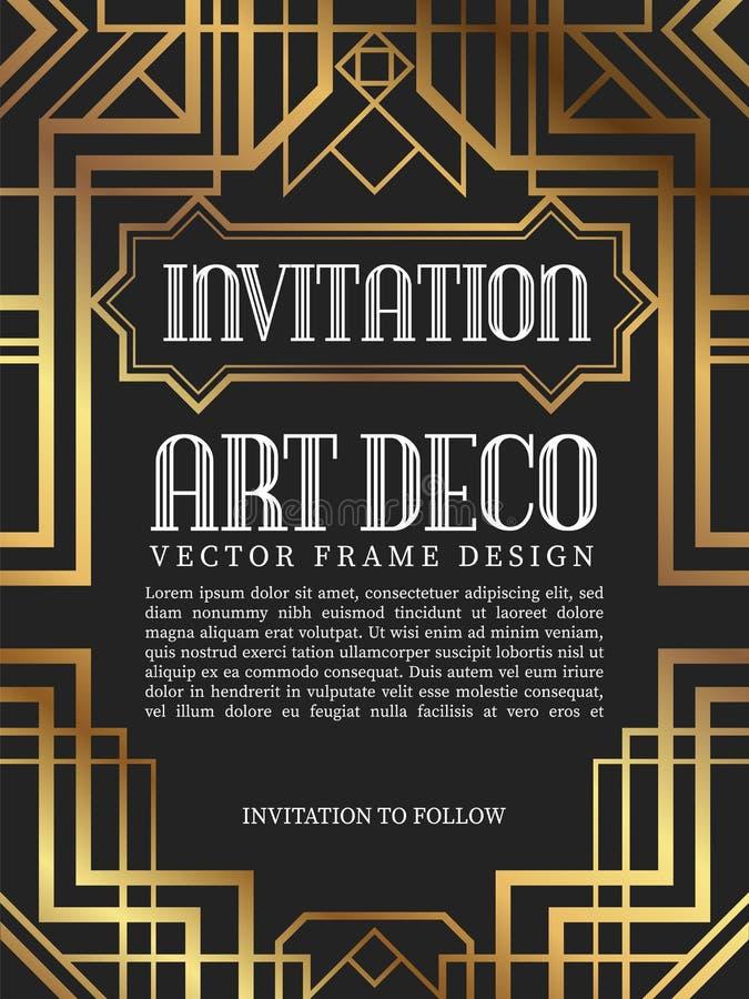 Estilo de lujo del art déco del marco del vintage Ilustración del vector stock de ilustración