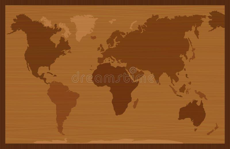 Estilo de madeira do embutimento do mapa do mundo ilustração royalty free