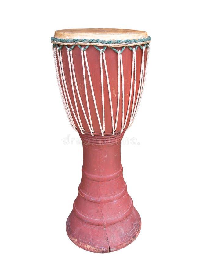 Estilo de madera de Tailandia del tambor aislado en el fondo blanco r fotografía de archivo libre de regalías