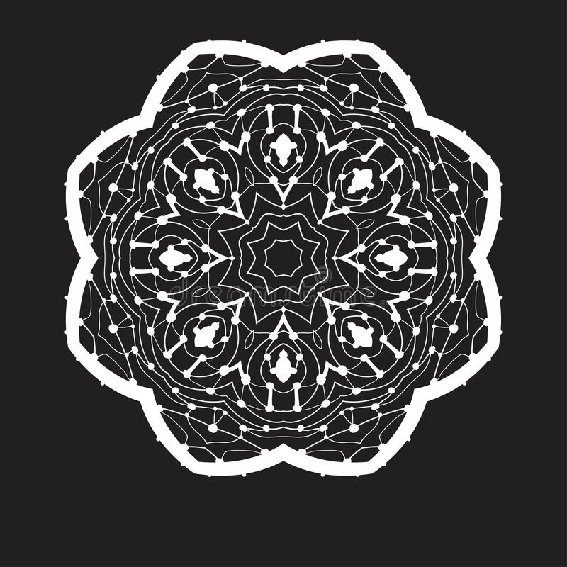 Estilo de Mandala Doodle Drawing By Hand Zentangle da simetria Ornamento redondo na cor branca no preto ilustração stock