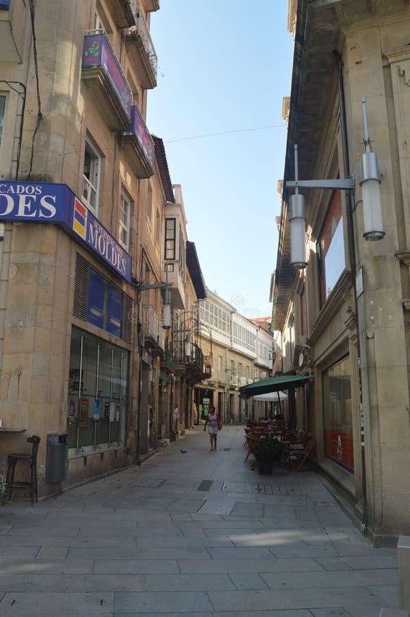 Estilo de Manuel Quiroga Street Of Medieval em Pontevedra Natureza, arquitetura, história, fotografia da rua 19 de agosto de 2014 imagens de stock