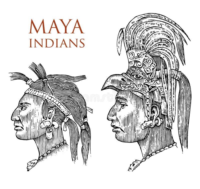 Estilo de Maya Vintage Cultura asteca Retrato de um homem, de um traje tradicional e de uma decoração na cabeça Tribo nativo ilustração do vetor