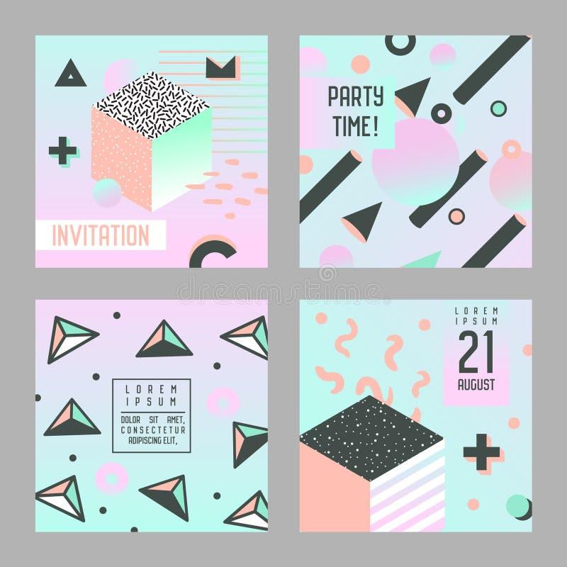 Estilo de Memphis del sistema de tarjetas de la enhorabuena de la invitación Plantillas abstractas del aviador de la bandera del  libre illustration