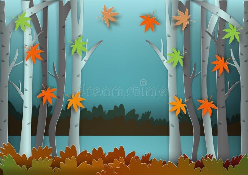 Estilo de papel del arte del bosque para el fondo del vector del extracto del concepto del otoño stock de ilustración