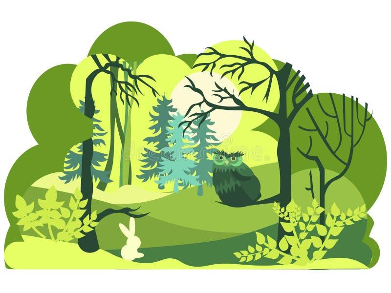 Estilo de papel del arte, del corte y del arte de la fauna verde del bosque con capas de la naturaleza Aislado en el fondo blanco stock de ilustración
