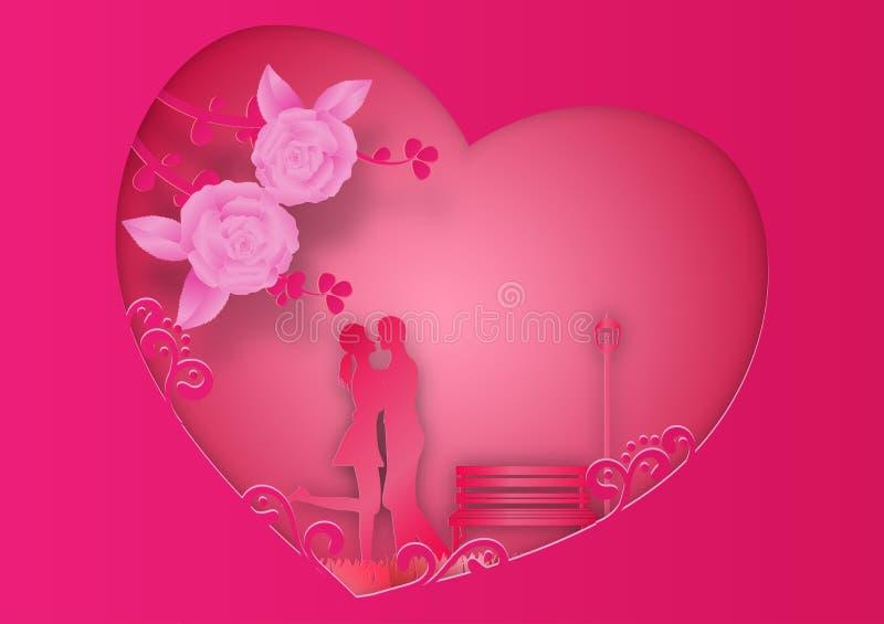 Estilo de papel del arte de flores y de vides color de rosa en rosa libre illustration