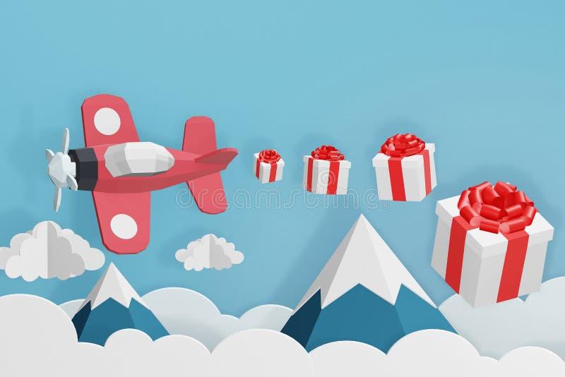 Estilo de papel del arte de la caja plana rosada en el cielo, diseño del vuelo y de regalo de la dispersión de la representación  stock de ilustración