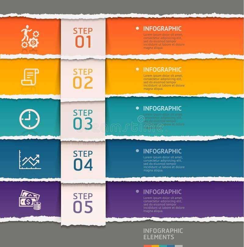 Estilo de papel rasgado plantilla abstracta del infographics stock de ilustración