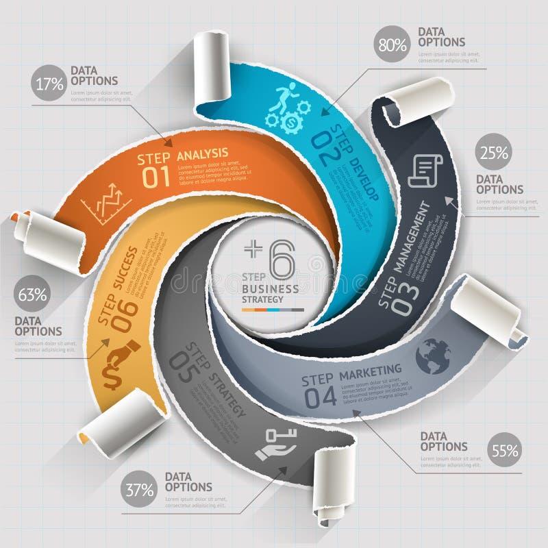 Estilo de papel rasgado plantilla abstracta del infographics ilustración del vector