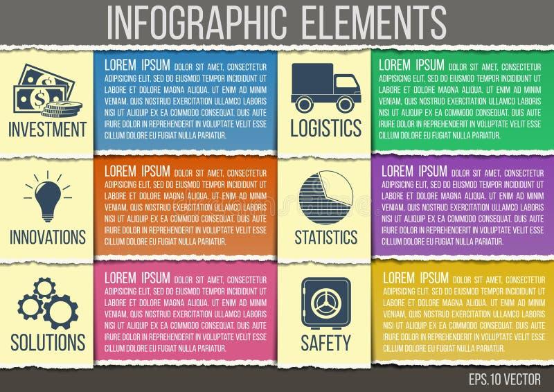Estilo de papel rasgado plantilla abstracta del infographics con los iconos integrados para el desarrollo, capacidad, seguridad,  stock de ilustración