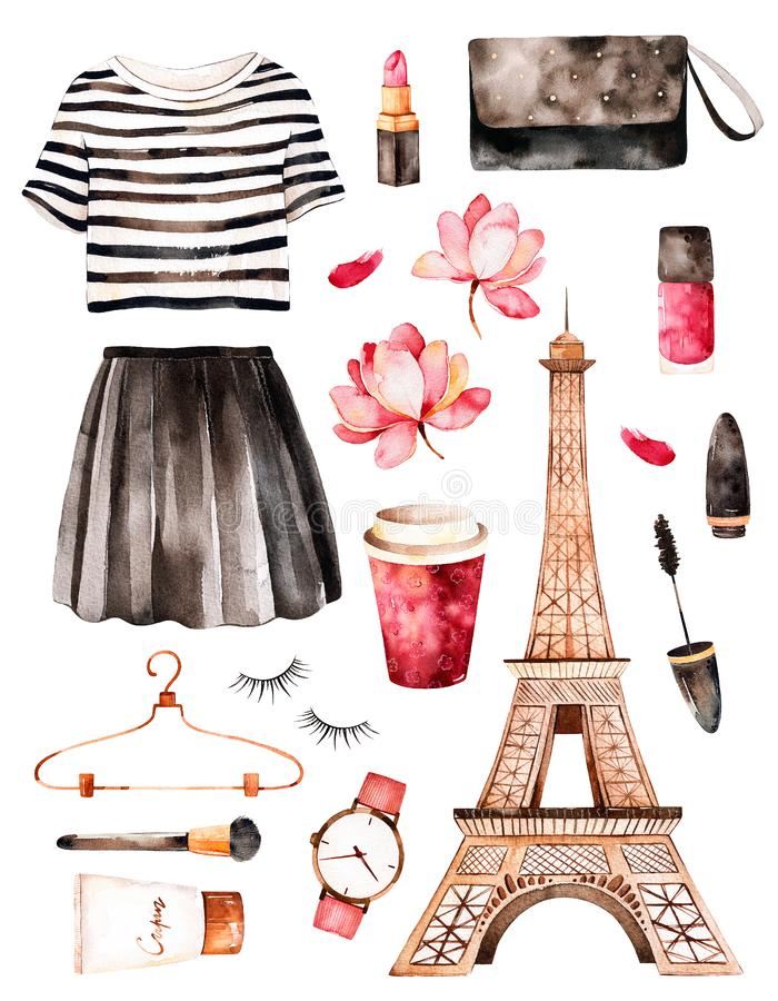 Estilo de Paris da ilustração da aquarela ilustração royalty free