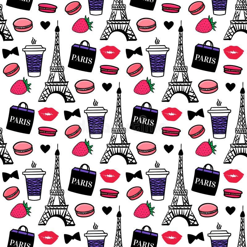 Estilo de Paris Torre Eiffel com coffe e bolinhos de am?ndoa Projeto de superf?cie Fundo do esbo?o do vetor ilustração do vetor