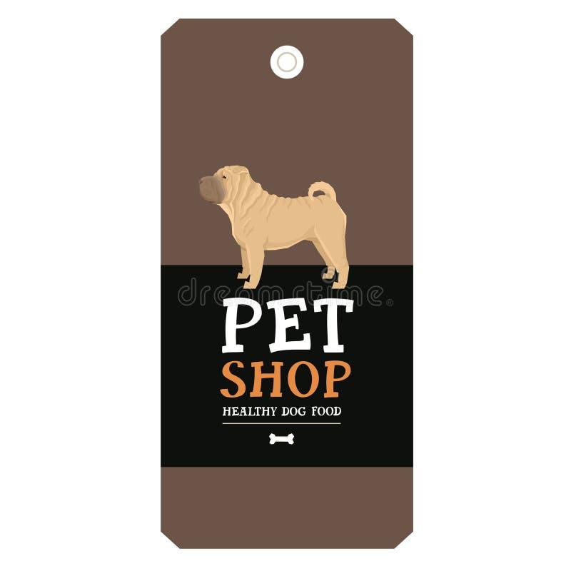 Estilo de Shar Pei Geometric de la etiqueta del diseño de la tienda de animales del cartel stock de ilustración