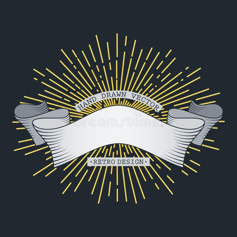 Estilo de tiragem disponivel das imagens douradas dos raios do sol Ilustra??o do vetor Bandeira do vintage do moderno ilustração royalty free