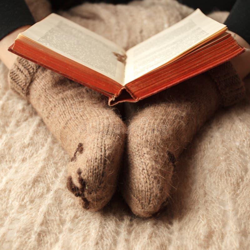 Estilo de vida acolhedor do outono da queda do inverno: mulher em peúgas bonitos mornas do urso com livro Tonificação retro, mono imagem de stock