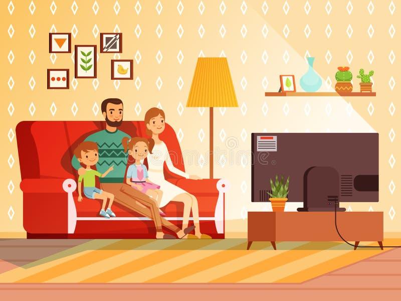 Estilo de vida da família moderna Mãe, pai e crianças olhando a tevê ilustração do vetor