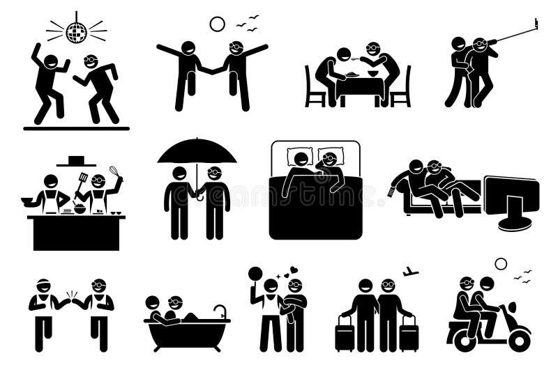 Estilo de vida e atividades alegres dos pares ilustração royalty free