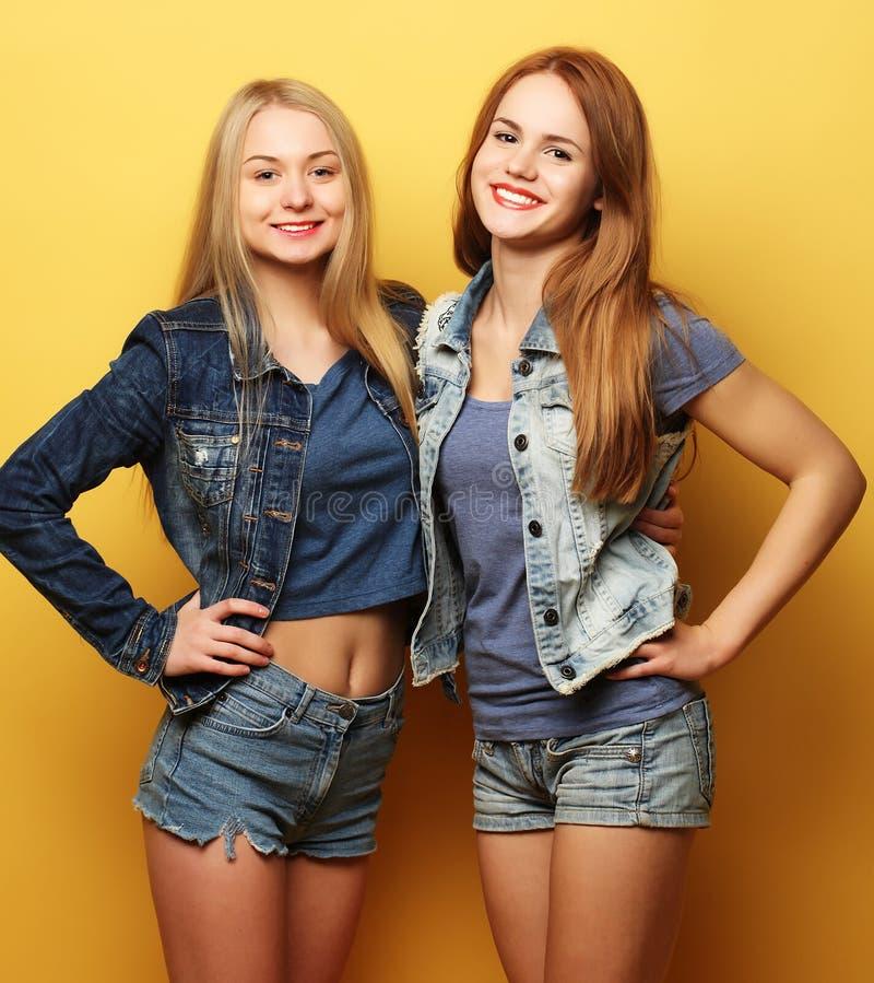 Estilo de vida e conceito dos povos: Dois amigos de moça que estão a fotografia de stock royalty free